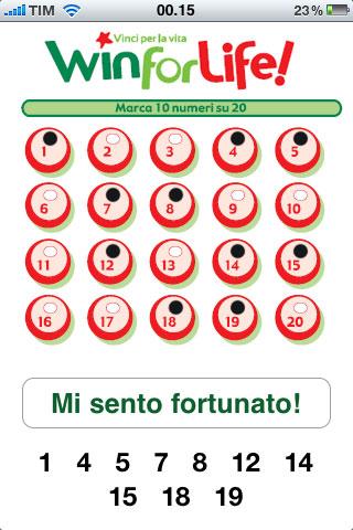 Con Win for Life potrete estrarre i numeri da giocare nellomonimo ...